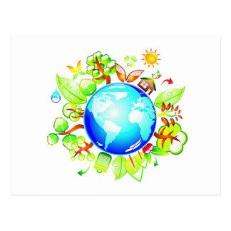 Carte Postale La terre verte Eco amical pour le jour de la terre