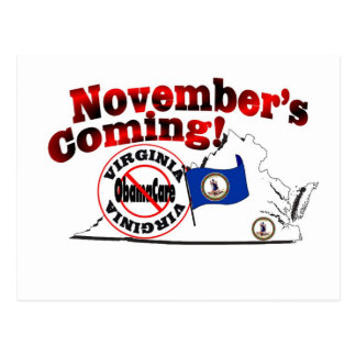 Carte Postale La Virginie anti venir d'ObamaCare - de novembre !