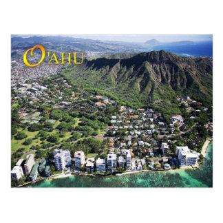 Carte Postale La vue aérienne de la plage de Waikiki et le