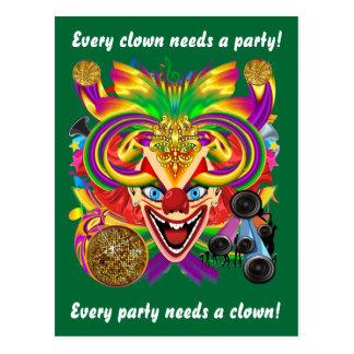 Carte Postale La vue de clown de mardi gras note svp