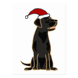 Carte Postale Labrador retriever noir dans le casquette de Père