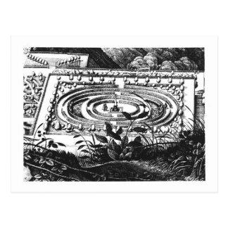 Carte Postale Labyrinthe à Heidelberg, Hortus Palatinus (engravi