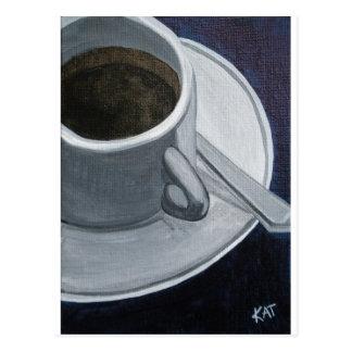 Carte Postale L'acrylique du café 5x7 sur le panneau de toile,