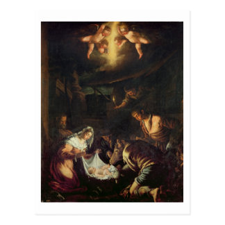 Carte Postale L'adoration des bergers (huile sur la toile)
