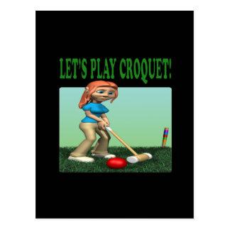 Carte Postale Laisse le croquet 2 de jeu