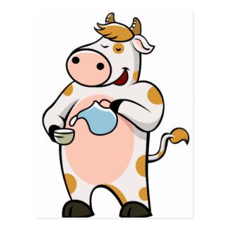 Carte Postale lait boisson de vache