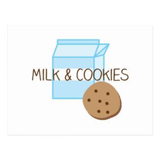 Carte Postale Lait et biscuits