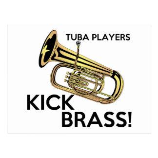 Carte Postale Laiton de coup-de-pied de joueurs de tuba