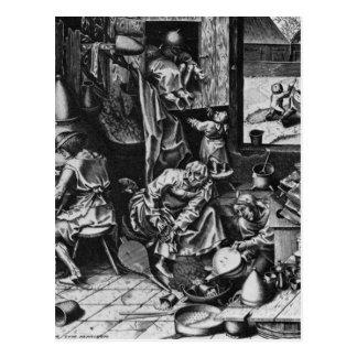 Carte Postale L'alchimiste par Pieter Bruegel l'aîné