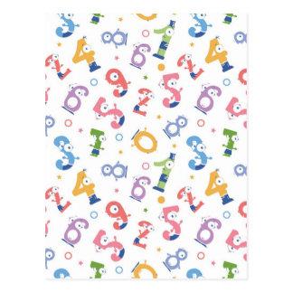 Carte Postale L'amusement numérote des caractères motif