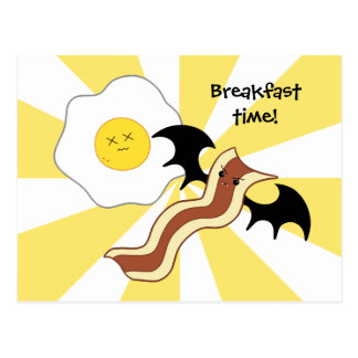 Carte Postale Lard de vampire et petit déjeuner idiot d'oeufs