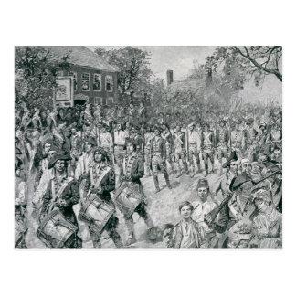 Carte Postale L'armée continentale marchant en bas du vieux
