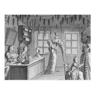 Carte Postale L'atelier d'une couturière, illustration de Th