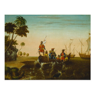 Carte Postale L'atterrissage de Columbus, c.1837 (huile sur la