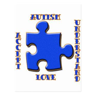 Carte Postale L'autisme, acceptation, amour, comprennent