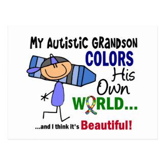 Carte Postale L'autisme COLORE SON PROPRE petit-fils du MONDE