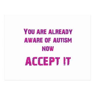 Carte Postale L'autisme l'acceptent rose/pourpre