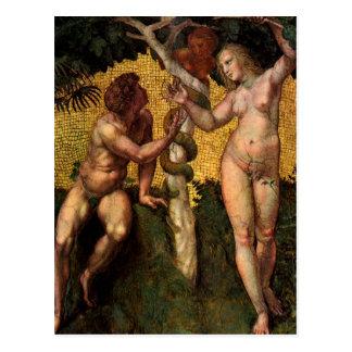 Carte Postale L'automne - Adam et Ève par Raphael Sanzio