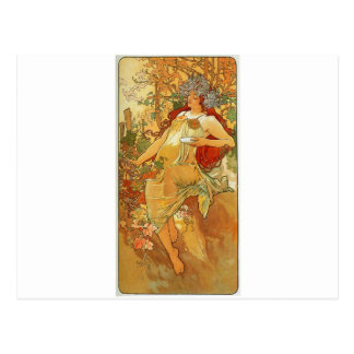Carte Postale L'automne par Alphonse Mucha