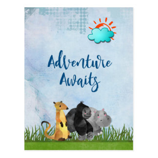 Carte Postale L'aventure attend - hippopotame et Meerkat de