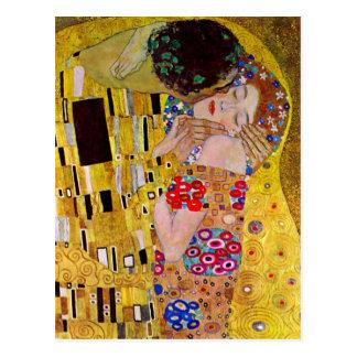 Carte Postale Le baiser par Gustav Klimt, art vintage Nouveau