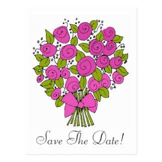 Carte Postale le bouquet rose, font gagner la date !