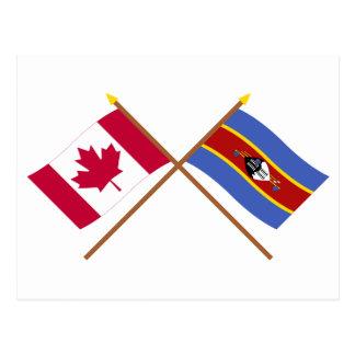Carte Postale Le Canada et les drapeaux croisés par Souaziland