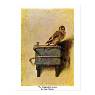 Carte Postale Le chardonneret., Puttertje par Carel Fabritius