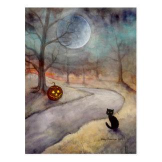 Carte Postale Le chat noir et le citrouille oubliés de Halloween