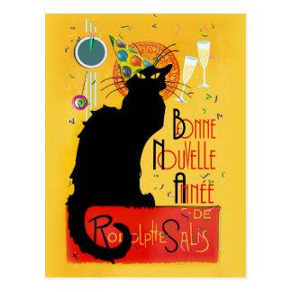 Carte Postale Le Chat Noir - nouvelle Année de Bonne