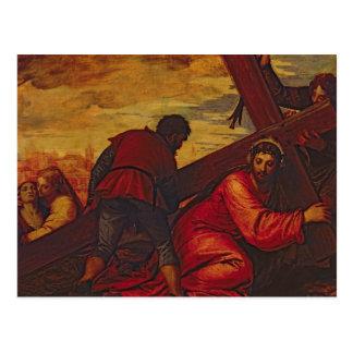 Carte Postale Le Christ descendant sous le poids de la croix