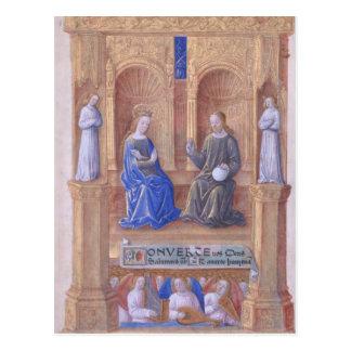 Carte Postale Le Christ et Vierge Marie couronnée