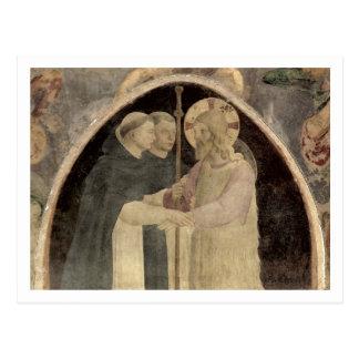 Carte Postale Le Christ souhaite la bienvenue à deux moines