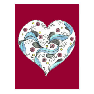 Carte Postale Le coeur festonné