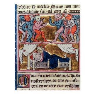 Carte Postale Le Conseil des démons, du 'l'Histoire de Merlin'