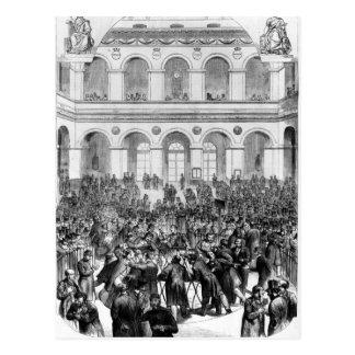 """Carte Postale Le """"Corbeille"""" à la bourse de Paris, 1873"""