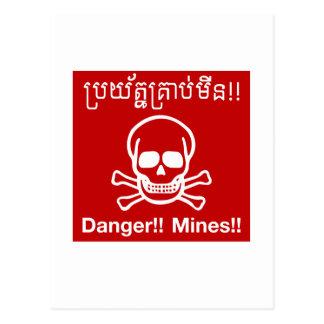 Carte Postale Le danger extrait le signe, Cambodge