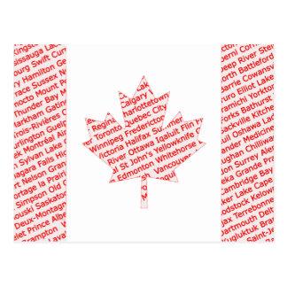 Carte Postale Le drapeau canadien avec la ville et la ville