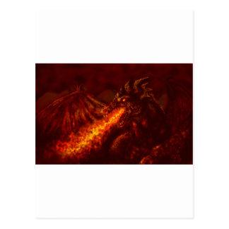 Carte Postale Le feu de respiration de grand dragon rouge
