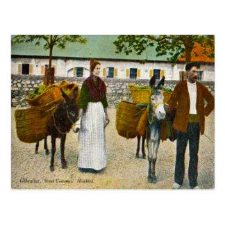 Carte Postale Le Gibraltar, colporteurs avec des ânes