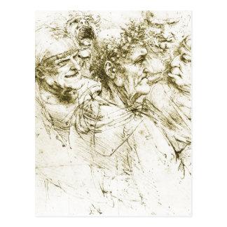 Carte Postale Le Grotesque dirige la date de Leonardo da Vinci :