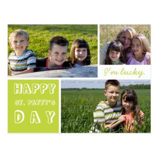 Carte Postale Le Jour de la Saint Patrick heureux trois photos