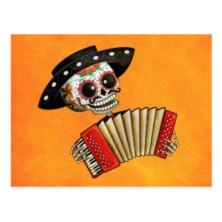 Carte Postale Le jour du mariachi mort d'EL de squelette
