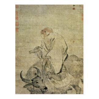 Carte Postale Le Laotien-tzu montant son boeuf, Chinois,