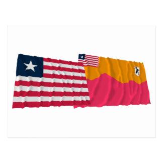 Carte Postale Le Libéria et Bong les drapeaux de ondulation du