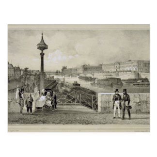 Carte Postale Le Louvre, gravé par Auguste Bry (gravure)