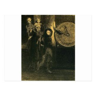 Carte Postale Le masque de la mort rouge par Odilon Redon