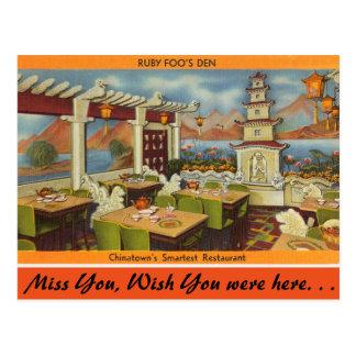 Carte Postale Le Massachusetts, le restaurant de Foo rouge,