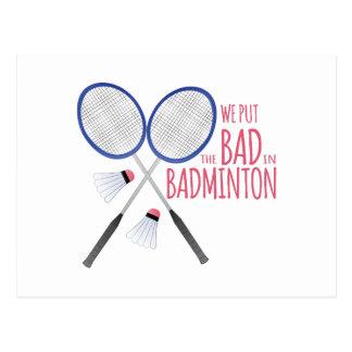Carte Postale Le mauvais dans le badminton