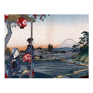Carte Postale Le mont Fuji a regardé des 1800s Japon du salon de